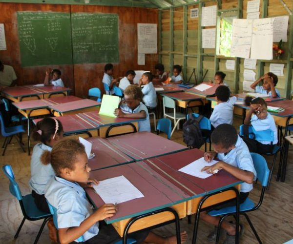 Education In Vanuatu Is Enhanced With The Donation Of These Desks And Chairs From New Zealand