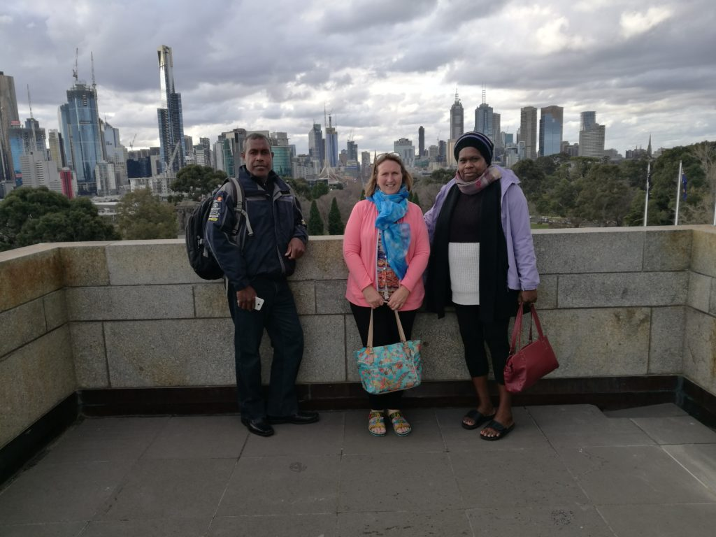 Jack Belinda and Mary on a cold winters day in Melbourne Australia as we did some sight seeing before the Pacific Menstrual Health Workshop commenced